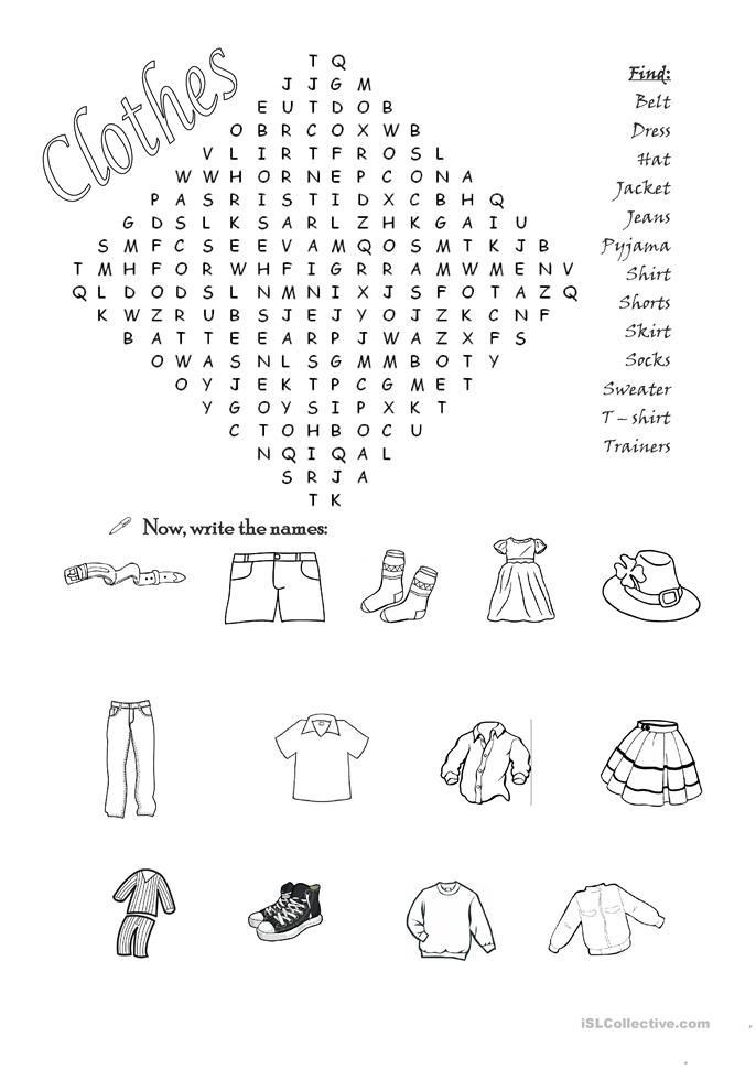 Clothes wordsearch  - ESL worksheets