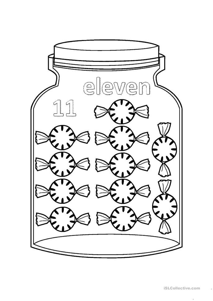 flashcards - numbers jar - from 11 to 20 worksheet