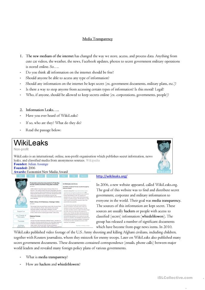 wikileaks introduction Computer programmer and activist julian assange caught the world's attention  when he released confidential information as wikileaks learn more at.