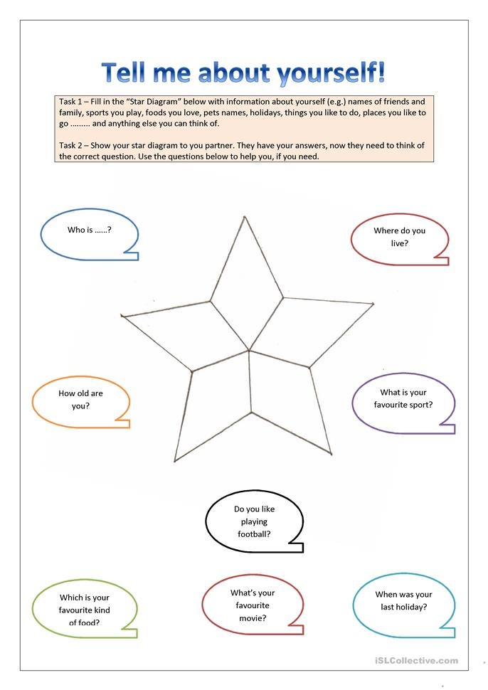 tell me about yourself worksheet free esl printable