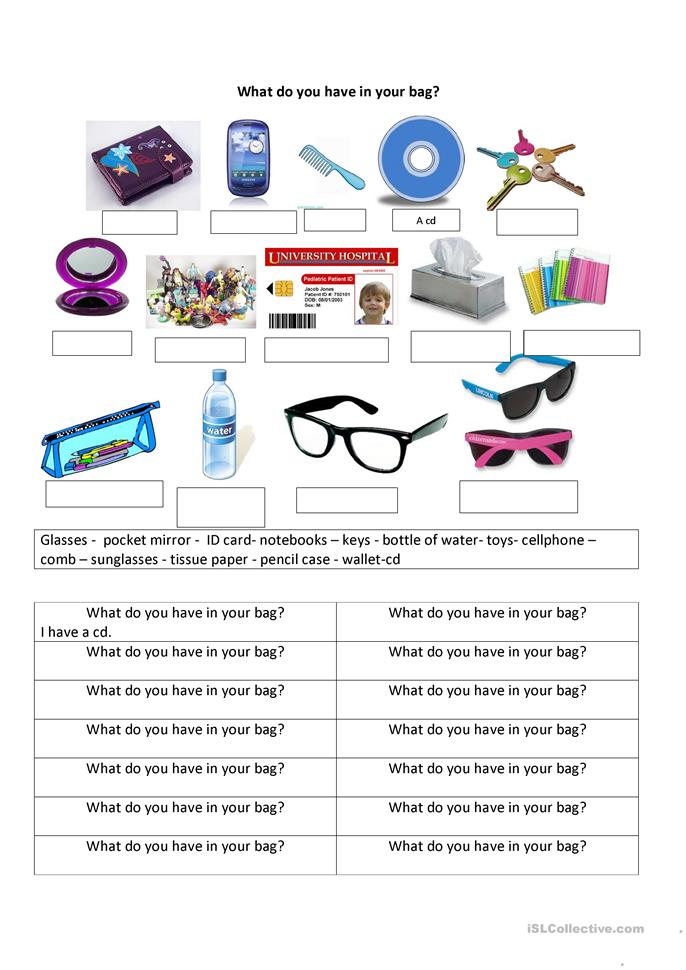 What do you have in your bag? worksheet - Free ESL ...