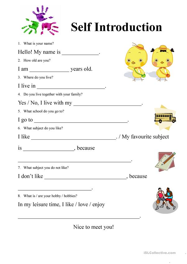 Self Introduction Form Worksheet Free Esl Printable