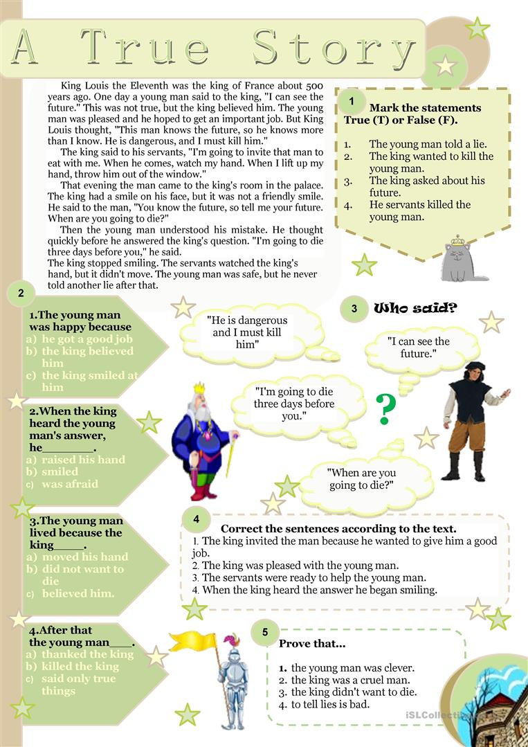 - A True Story - Reading Comprehension - English ESL Worksheets For