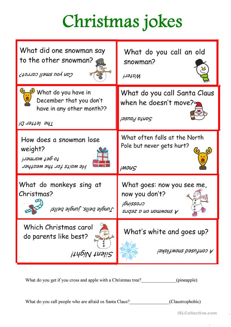 Christmas Jokes English Esl Worksheets For Distance Learning And Physical Classrooms