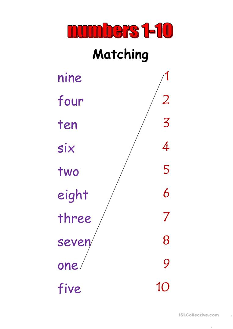 Numbers 1-10 - English ESL Worksheets for distance ...