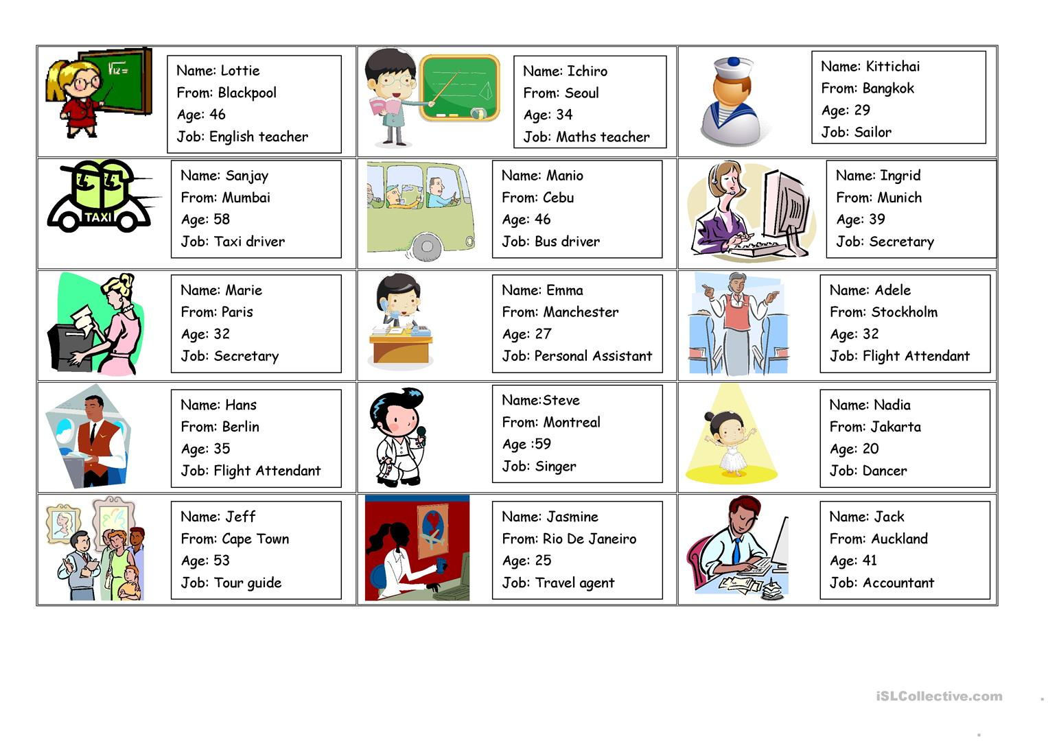 personal information  1  roleplay cards worksheet