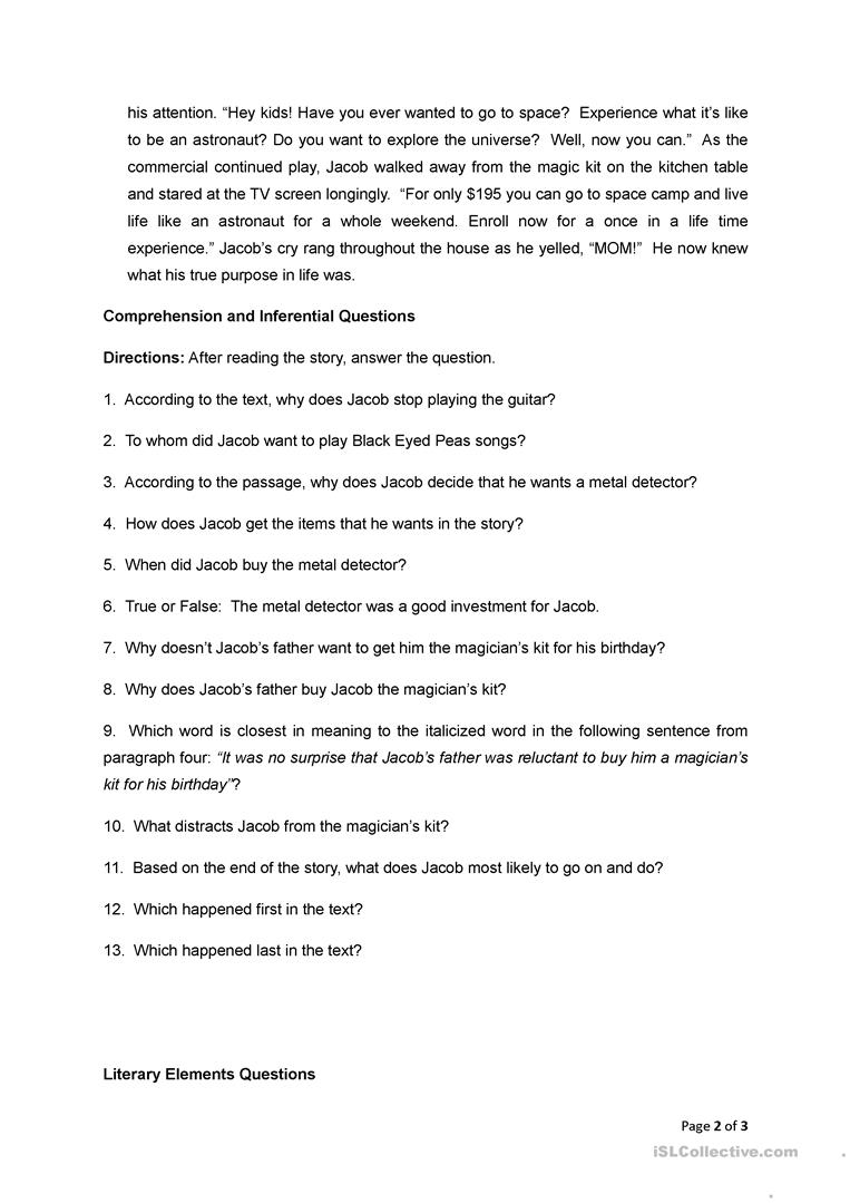 Reading Comprehension Jacob The Great English Esl Worksheets For Distance Learning And Physical Classrooms . the working principle of this cheap and easy to build metal detector circuit consists in mixing two equal . reading comprehension jacob the great