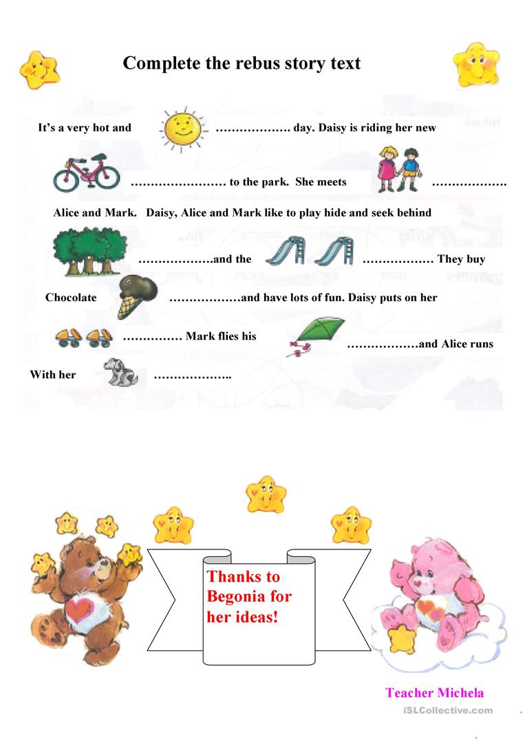 picture relating to Rebus Printable titled Rebus tale phrases worksheet - Cost-free ESL printable worksheets