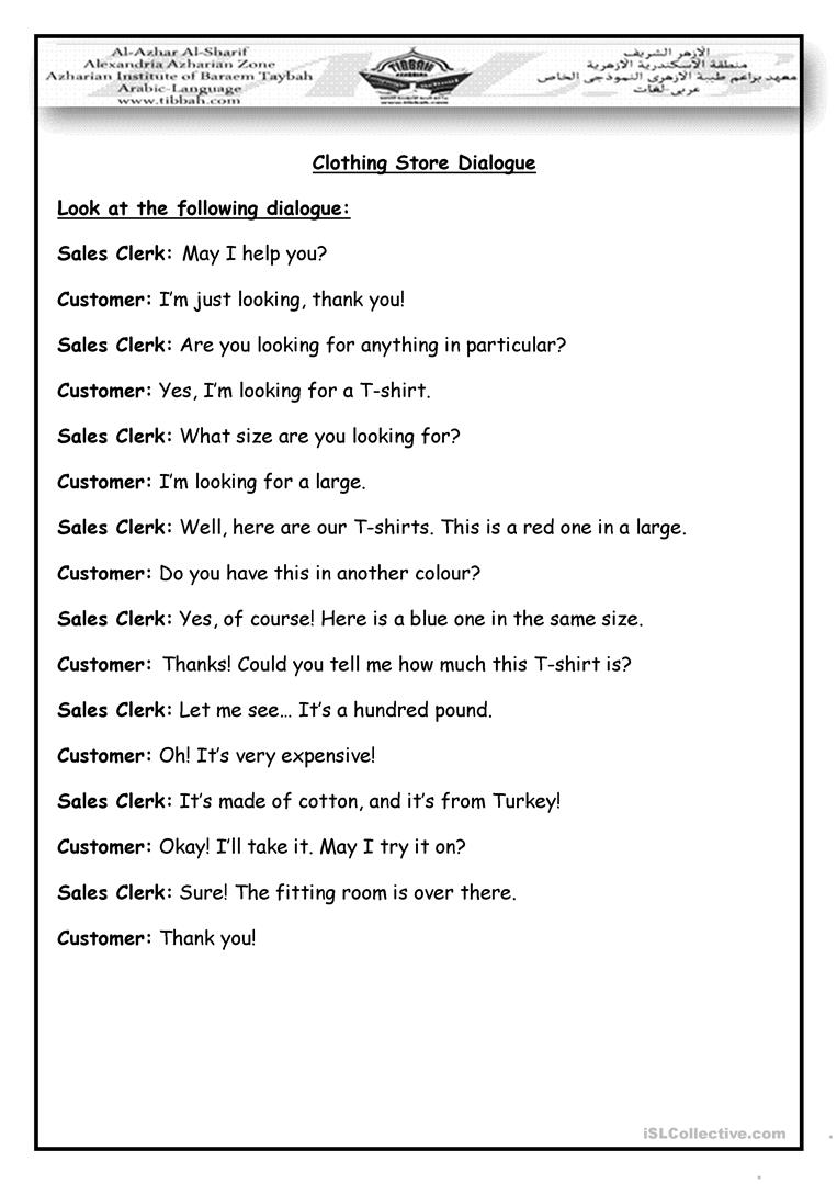 Worksheets Dialogue Worksheet shopping dialogue worksheet free esl printable worksheets made by full screen