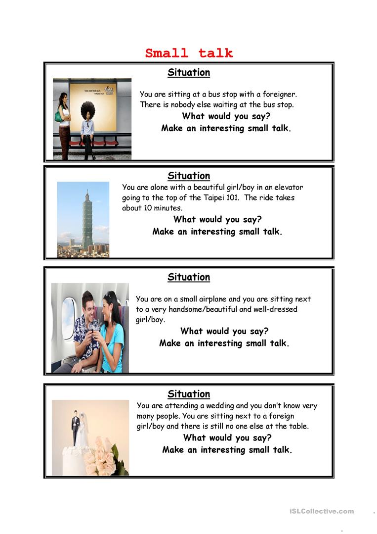 Small talk - English ESL Worksheets
