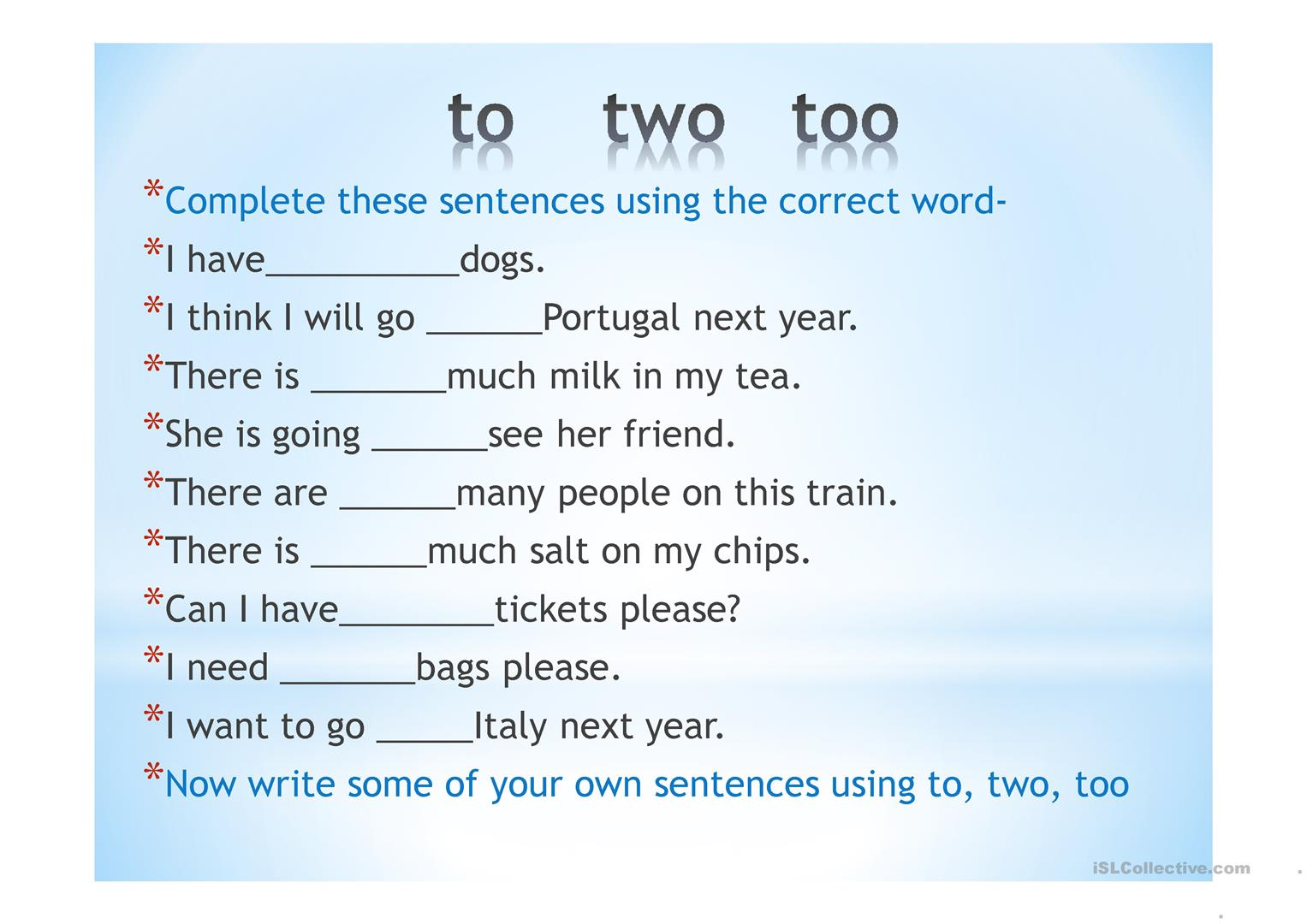 to, two and too - English ESL Powerpoints for distance learning With To Too Two Worksheet