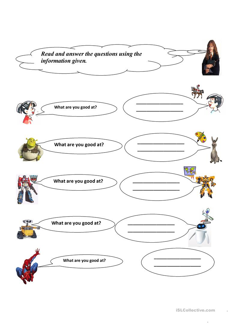 WHAT ARE YOU GOOD AT? worksheet - Free ESL printable worksheets made ...