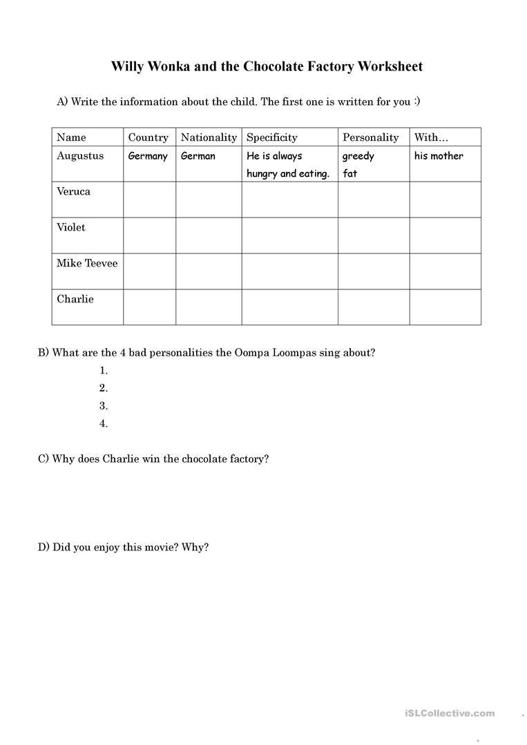 Willy Wonka and The Chocolate Factory worksheet Free ESL – Charlie and the Chocolate Factory Worksheets