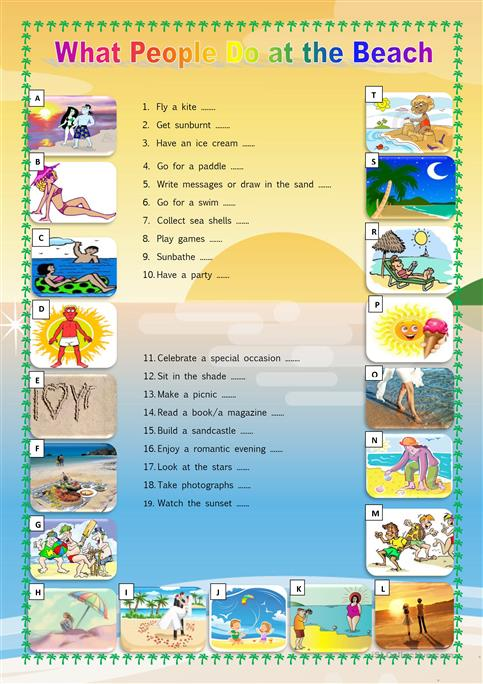 What people do at the beach worksheet - Free ESL printable ...