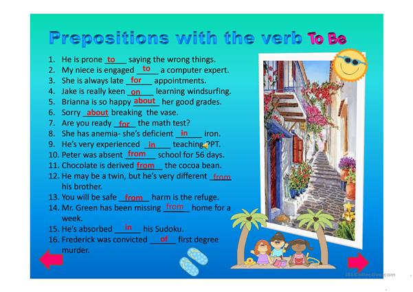 Advanced Level Prepositions with the Verb 'to be' PPT