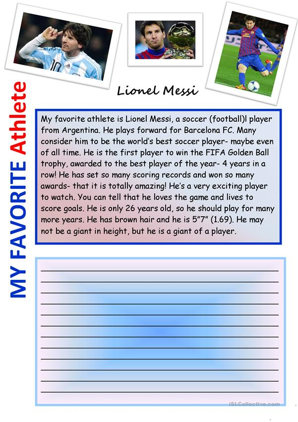 Creative Writing: Lionel Messi: My Favorite Male Athlete #3