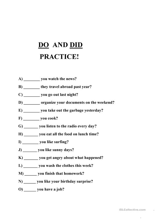 Do and Did Practice