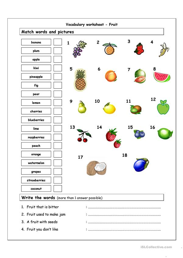 Fruit vocabulary page