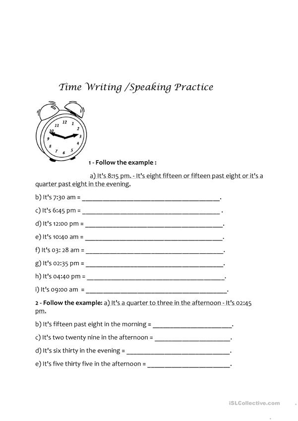 Time Writing/Speaking Practice.