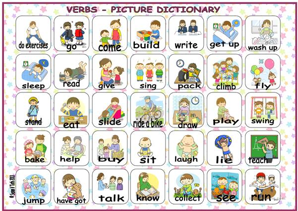 Verbs - picture dictionary with 35 pics