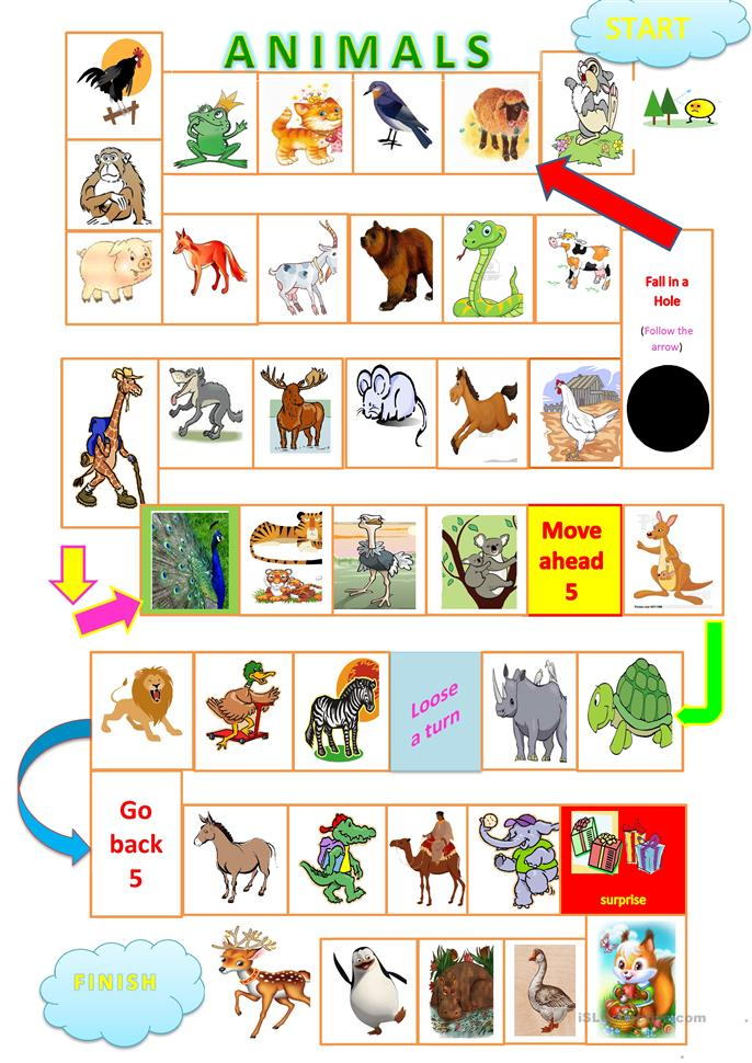 Animals board game worksheet - Free ESL printable