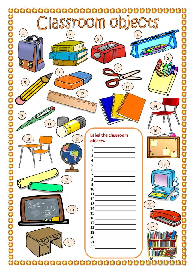 Classroom objects worksheet - Free ESL printable worksheets made by ...