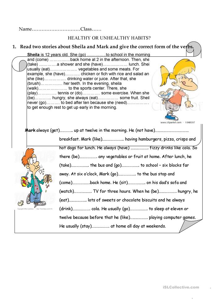 Printables Healthy Habits Worksheets 13 free esl healthy habits worksheets or unhealthy habits