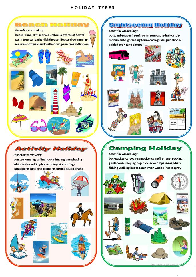 Holiday types - ESL worksheets