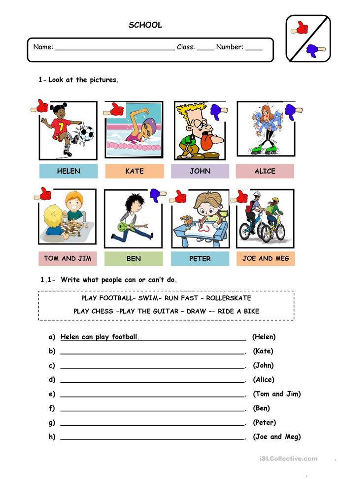 MODAL VERB CAN-CANT - ESL worksheets