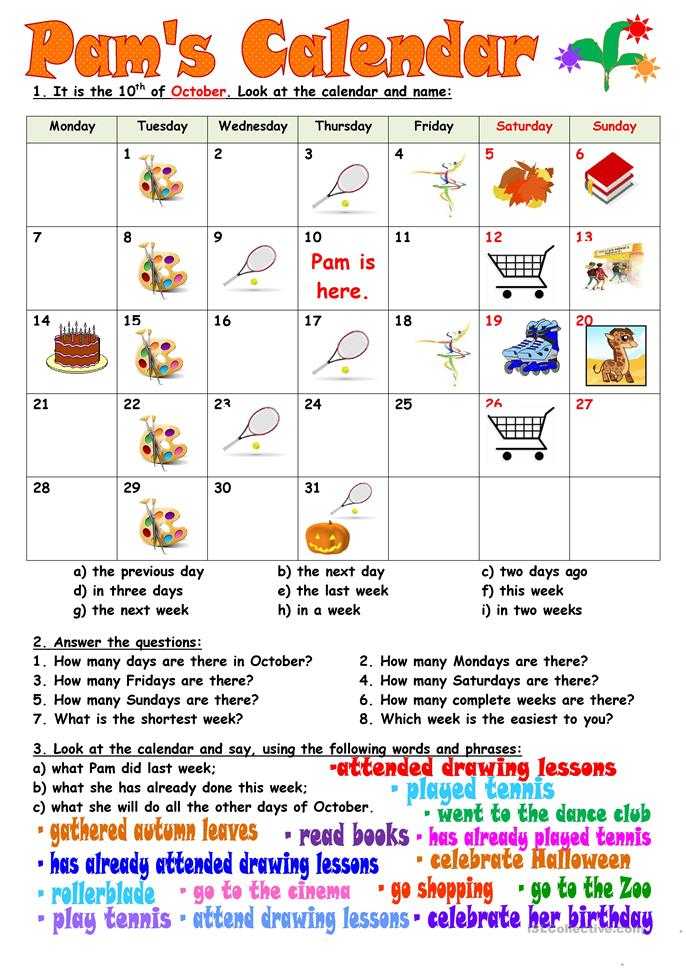 Pam's Calendar worksheet - Free ESL printable worksheets ...