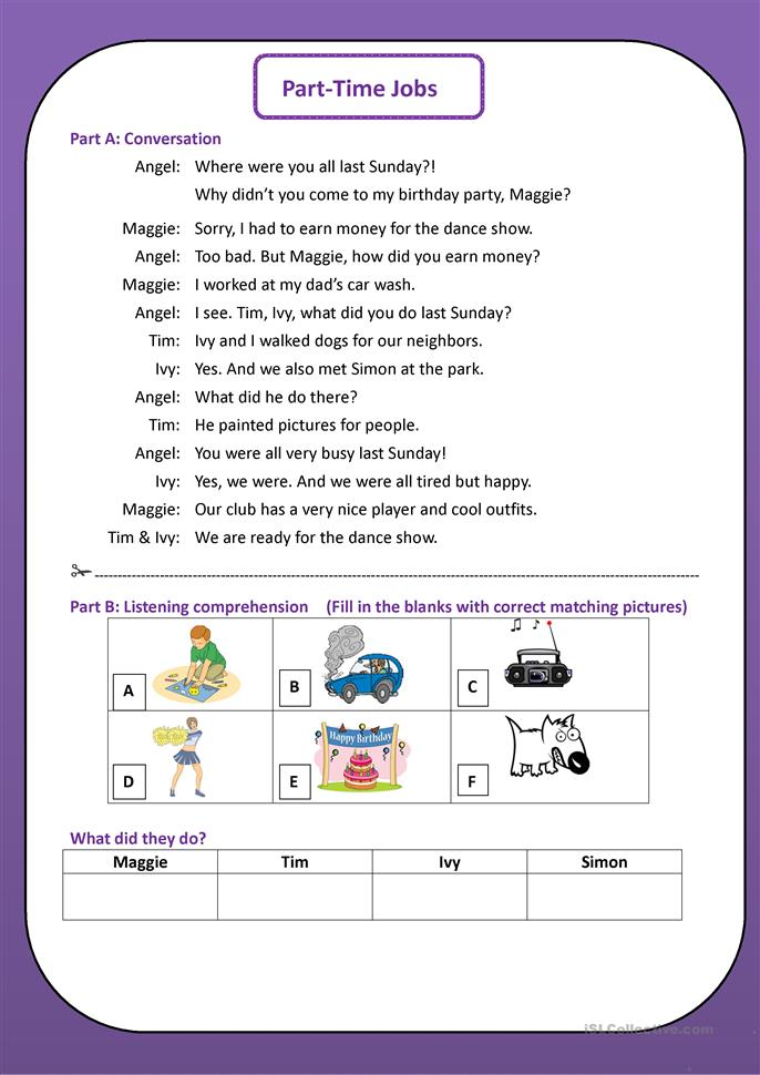 part time jobs worksheet free esl printable worksheets