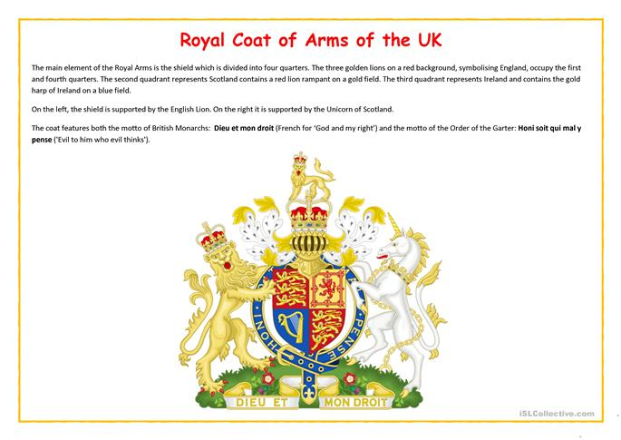 Royal Coat of Arms worksheet Free ESL printable worksheets made – Coat of Arms Worksheet