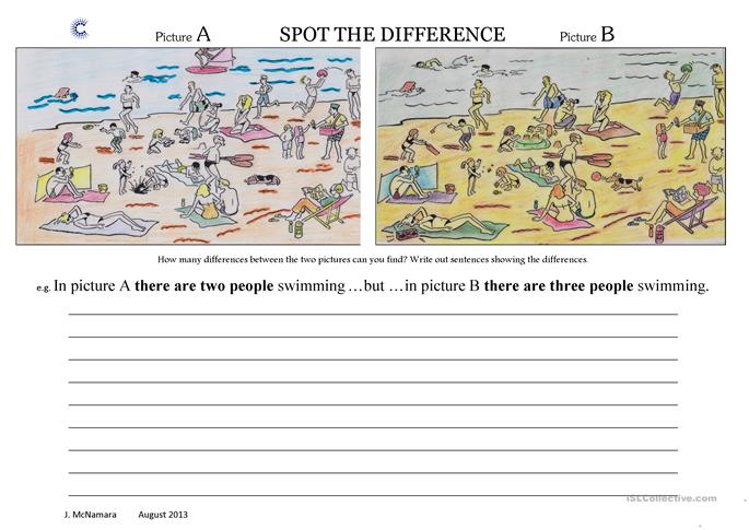Spot The Difference-At the Beach worksheet - Free ESL printable ...