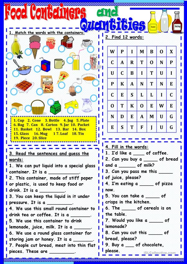 food-containers-and-quanies_56735_1 Countable And Uncountable Nouns Worksheets Doc on examples exercises, clip art, worksheets grade 5, cake chicken, worksheet for kids, exercises intermediate, food drinks exercise, for grade 2,