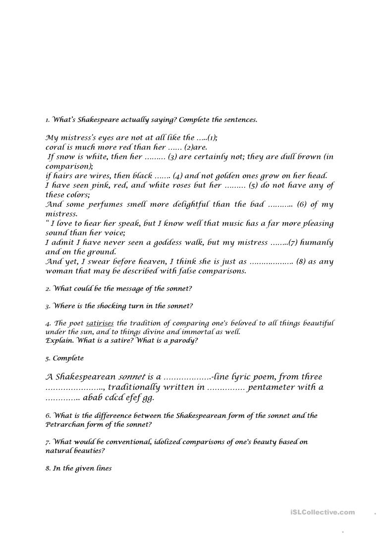 Worksheets Sonnet Worksheet activities to sonnet 130 by w shakespeare worksheet free esl full screen