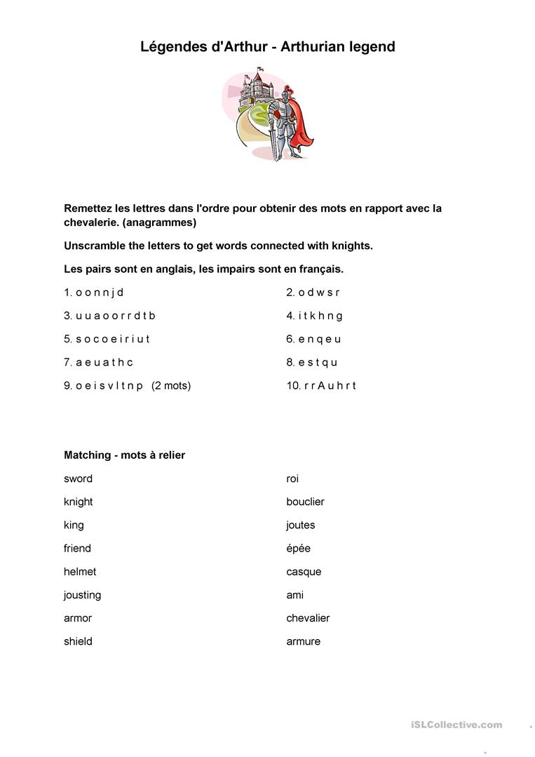 Worksheets Bilingual Worksheets 6 free esl bilingual worksheets activities on king arthur