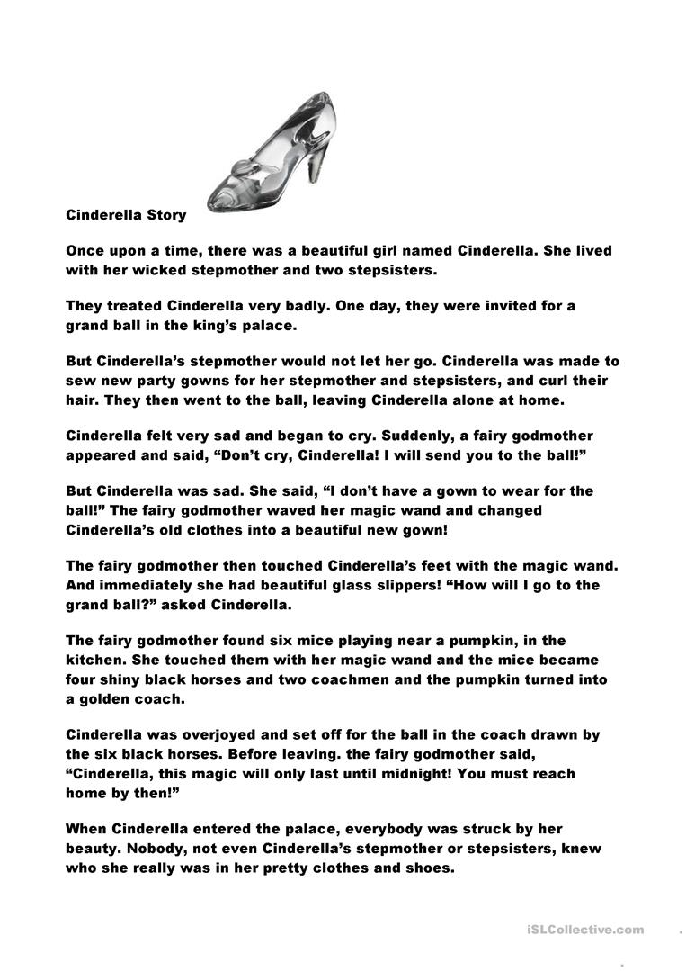 graphic about Cinderella Story Printable named Cinderella Tale - English ESL Worksheets