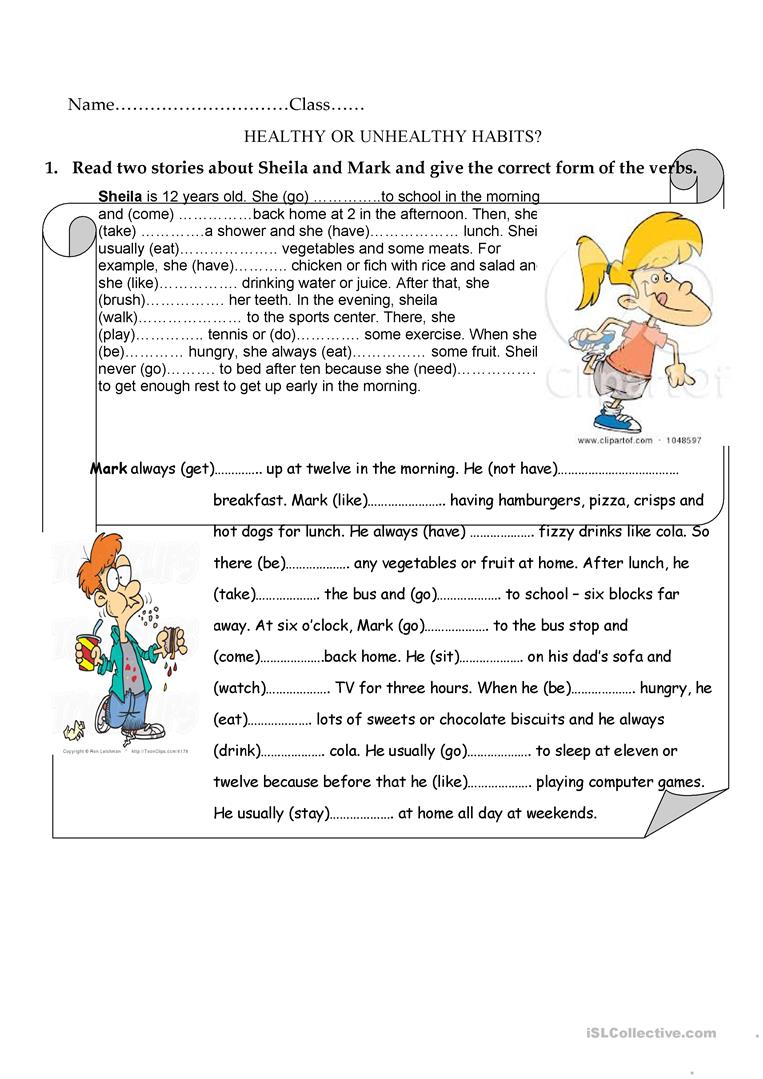21 FREE ESL healthy habits worksheets