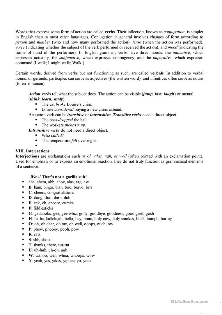 Workbooks transitive and intransitive verbs worksheets : Parts of Speech worksheet - Free ESL printable worksheets made by ...