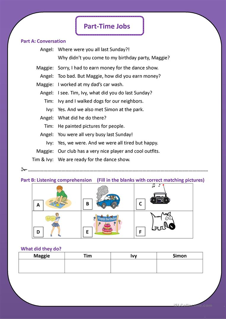 Part-Time Jobs - English ESL Worksheets
