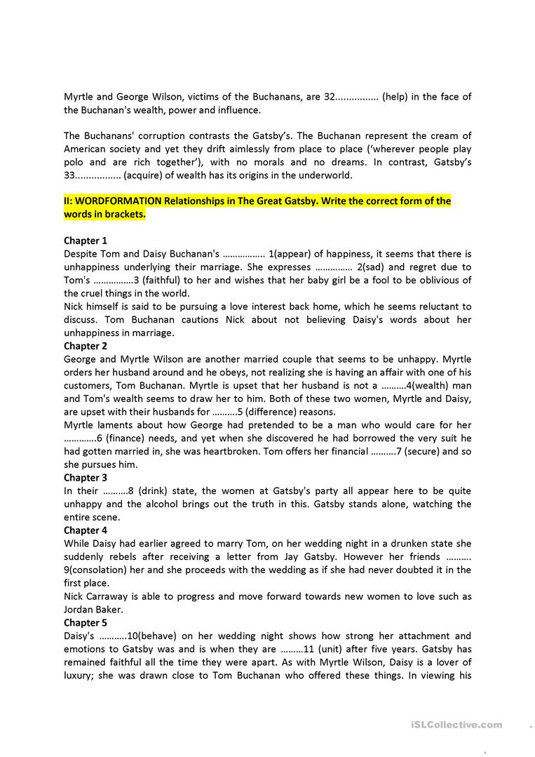 worksheet The Great Gatsby Worksheets the great gatsby and wordformation exercise worksheet free esl full screen