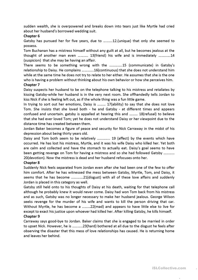 Worksheets The Great Gatsby Worksheets the great gatsby and wordformation exercise worksheet free esl full screen