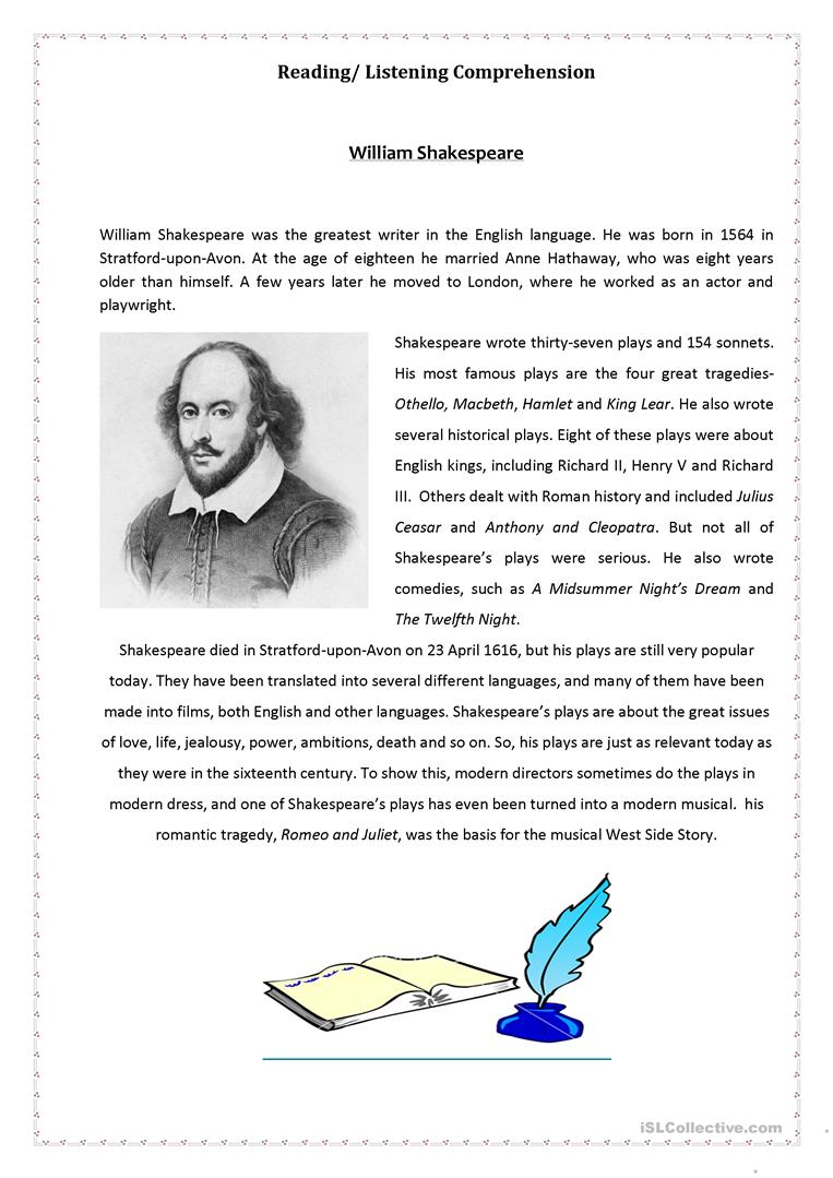 Worksheets Shakespeare Worksheets 30 free esl shakespeare worksheets william shakespeare