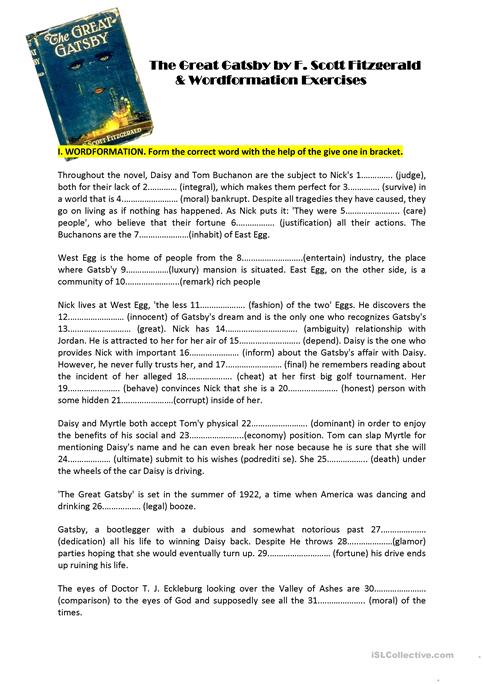 worksheets for great gatsby | Worksheet for The Great Gatsby | The ...