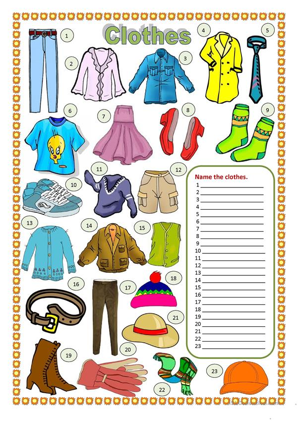 Clothes (worksheet)