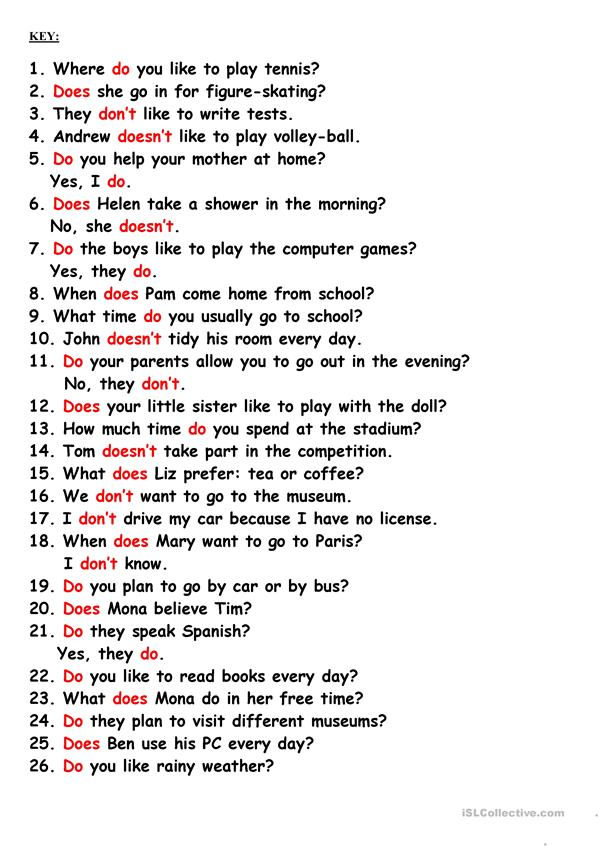 Do, Does, Don't, Doesn't - English ESL Worksheets For Distance Learning And  Physical Classrooms