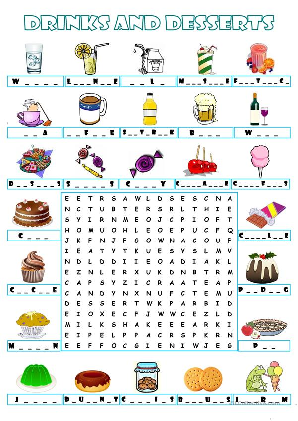 DRINKS AND DESSERTS - WORDSEARCH
