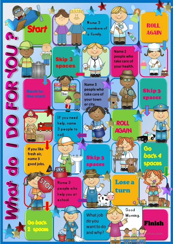 Jobs Speaking Activity Boardgame: What Do These People Do For You?
