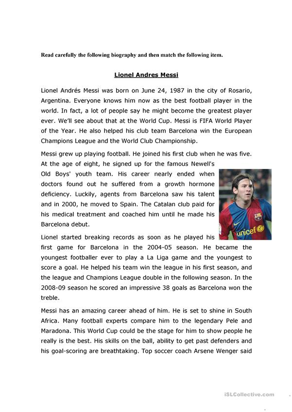 Messi´s  Biography