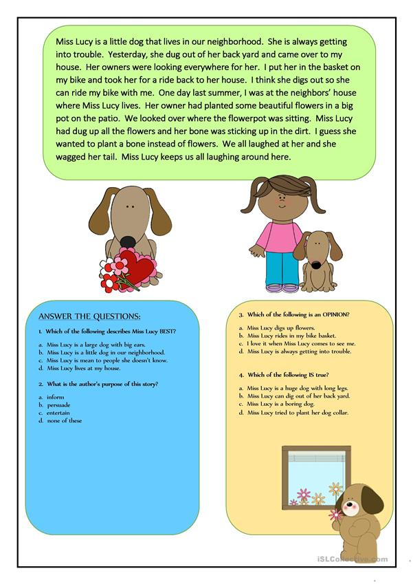 Reading Comprehension for beginner and Elementary Students 7